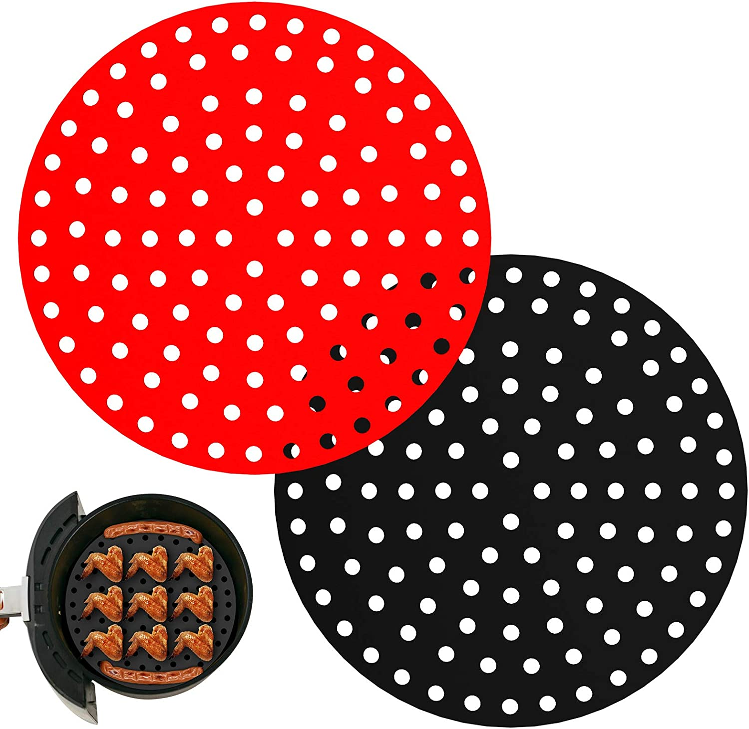 Air Fryer Liners, AUNCLEY 2PCS 9 Inch Round Reusable Silicone Air Fryer Basket Mats, Non-Stick Accessories Ideal for Ninja, Gourmia, Power XL, NuWave and More