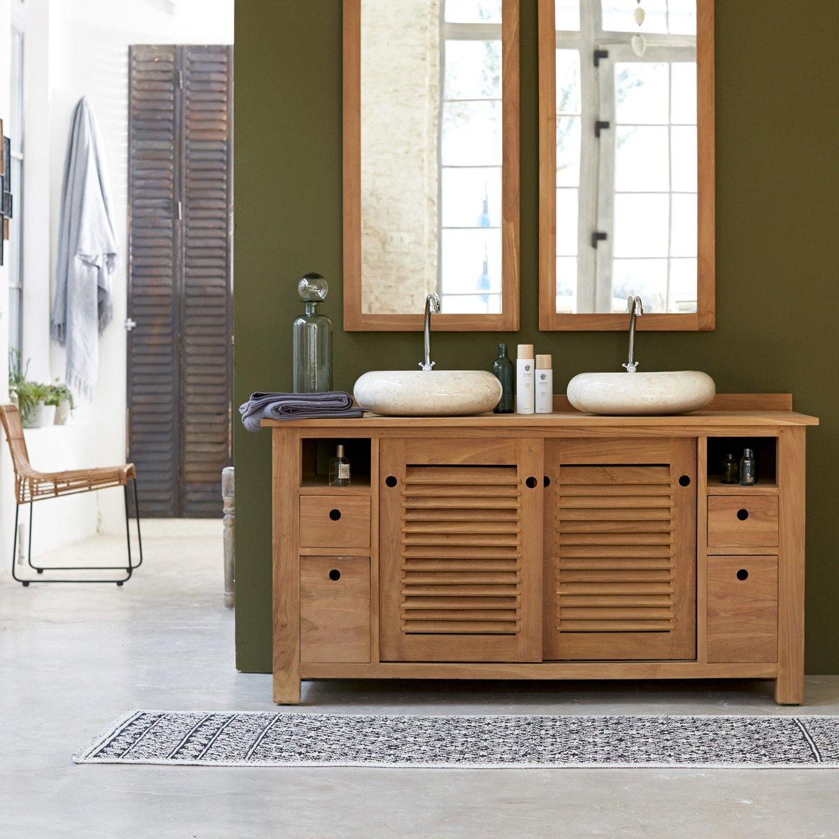 Badmöbel holz günstig  Waschtisch Waschbeckenschrank Badezimmer Unterschrank massiv Holz ...