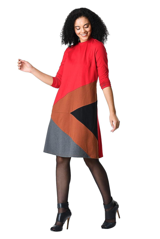 1960s Dresses | 60s Dresses Mod, Mini, Jakie O, Hippie eShakti Womens Colorblock Hem Cotton Knit Shift Dress $64.95 AT vintagedancer.com