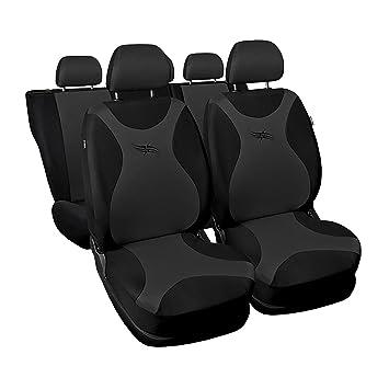 Amazon.es: Auto 4U Fundas de Asiento para Auto Asiento, Asiento Protección Universal Auto Colchón Set, Turbo, Juego Completo, Color Gris Oscuro