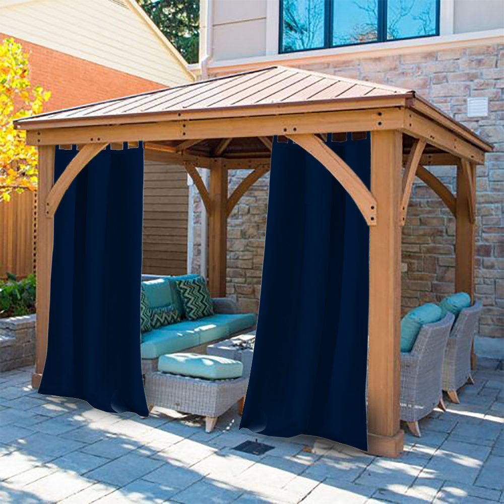 Darkblue Pro Space Privacy Outdoor Curtains Drape 50x84-Inch for Porch Patio Window Treatment Tab Top Blackout UV Ray Protected Waterproof Panel 1 Pack