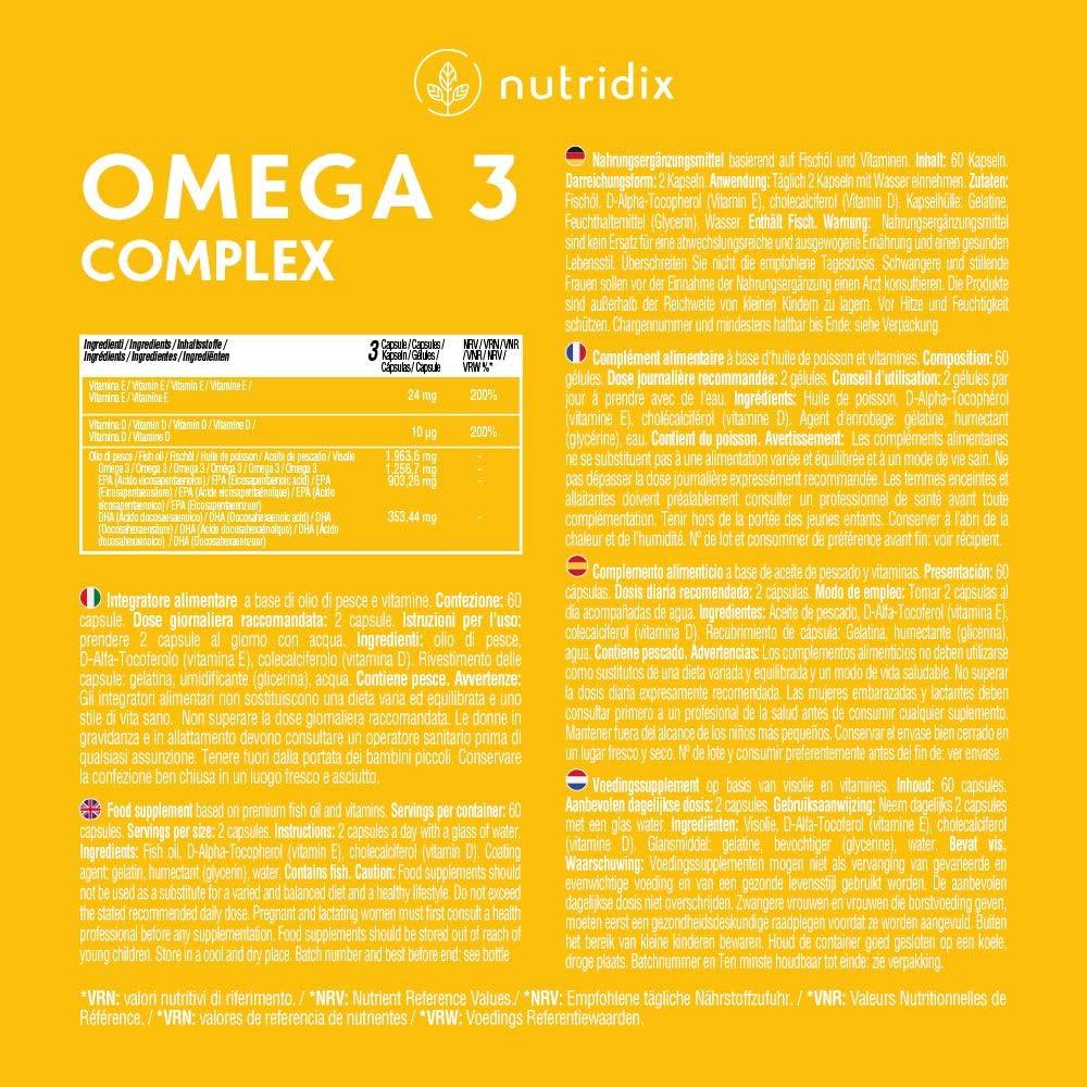 Omega 3 2000 mg por Dosis - Ácidos Grasos Esenciales DHA y EPA - Aceite de Pescado Puro Alta Concentración con Vitamina D y E - 60 Cápsulas Nutridix: Amazon.es: Salud y cuidado personal