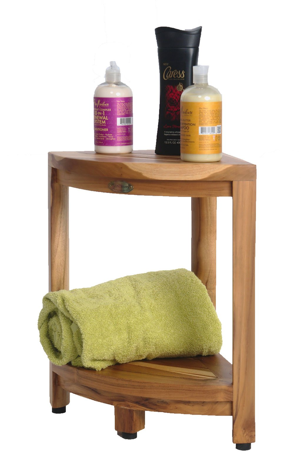 New- EcoDecors EarthyTeak™ FULLY ASSEMBLED 2-Tier Compact Teak Corner Shower Foot Stool With Shelf- Shower Storage, Shaving Foot Rest by EcoDecors (Image #4)