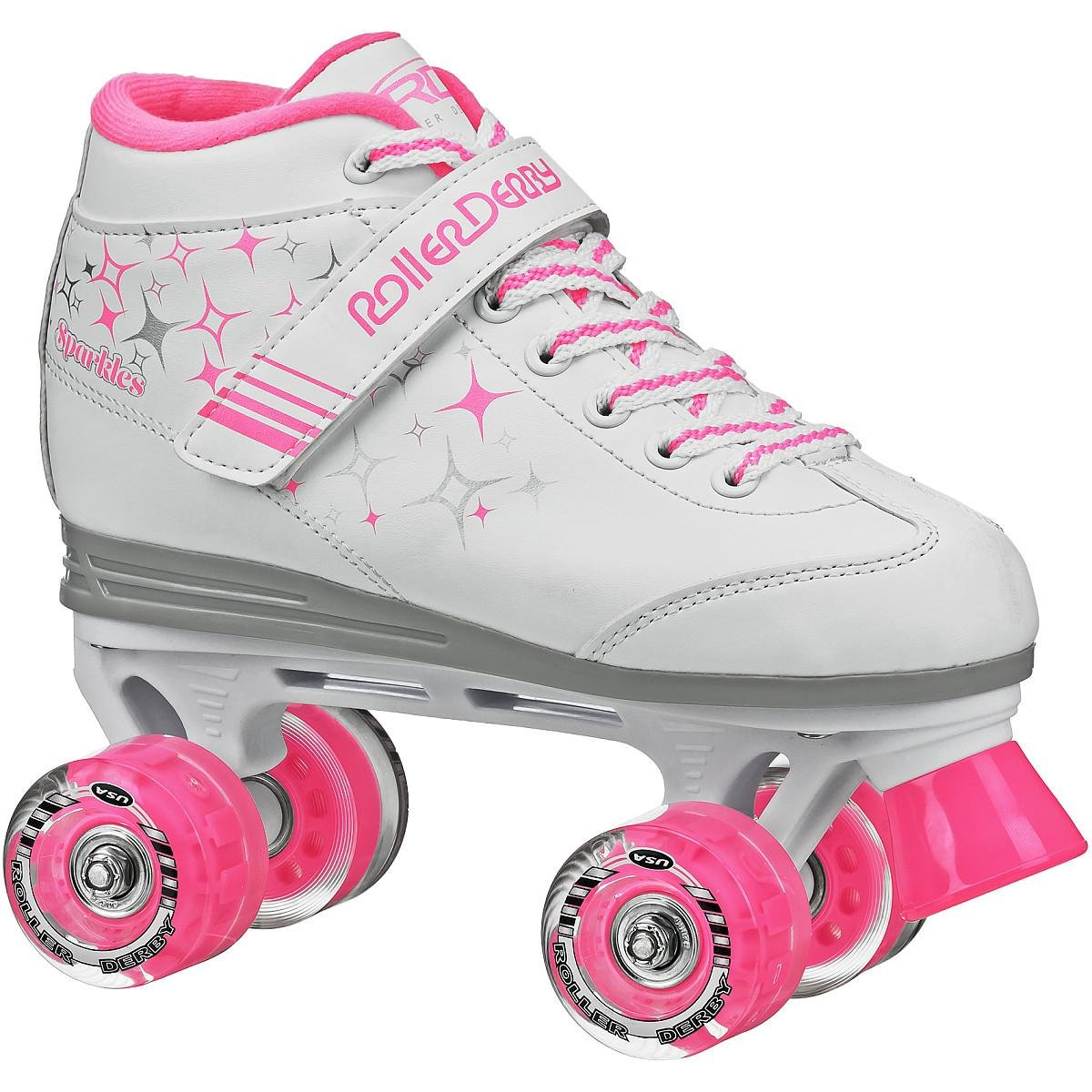 Roller Derby Girls Sparkle Lighted Wheel Roller Skate, White, Size 5