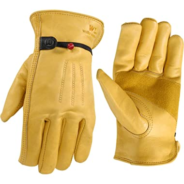 Wells Lamont 1132L Work Gloves with Grain Palomino Cowhide, Keystone Thumb, Self-Hem, Ball & Tape, Palm Patch, Large