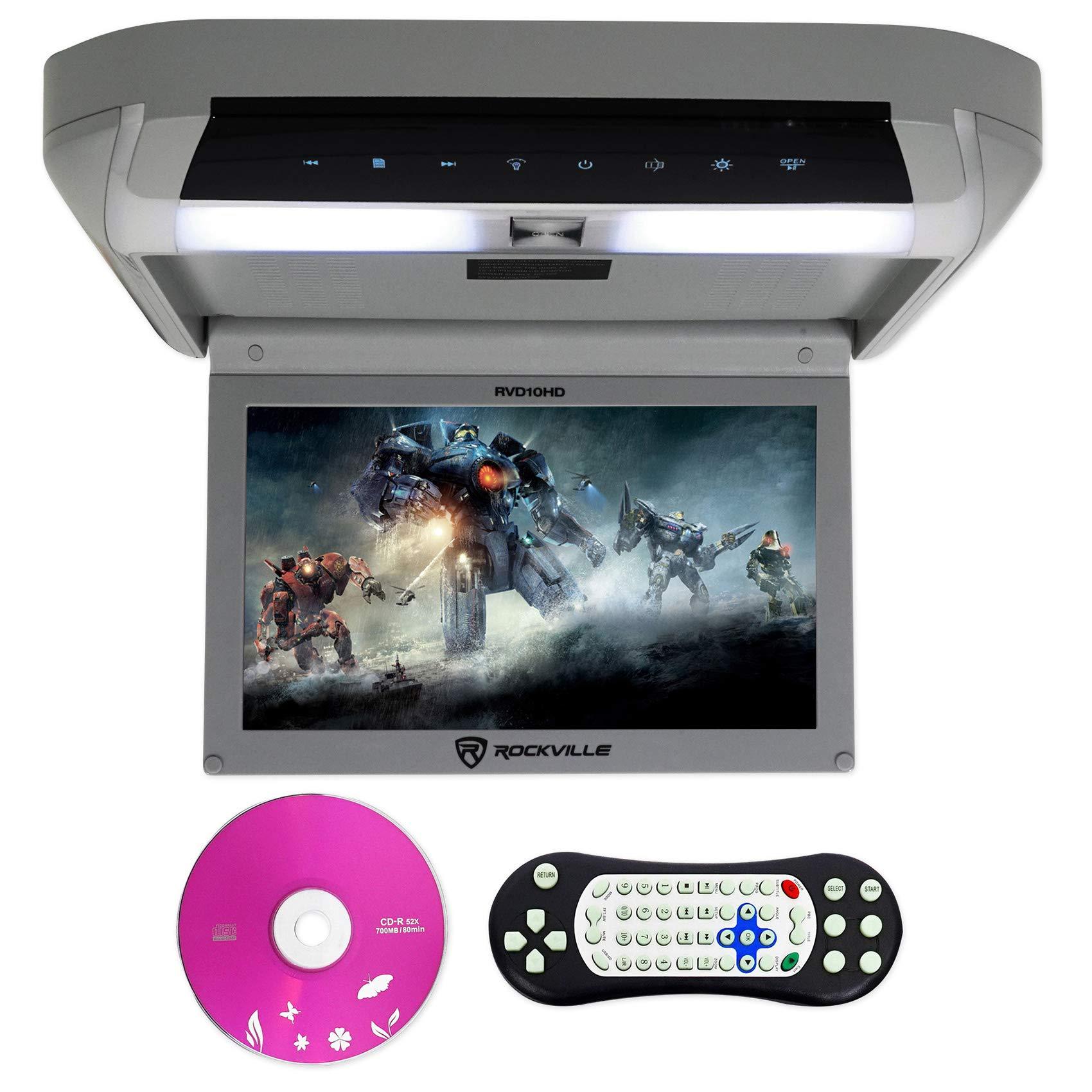Rockville RVD10HD-GR Flip Down Monitor DVD Player, HDMI, USB, Games, LED, 10.1 by Rockville
