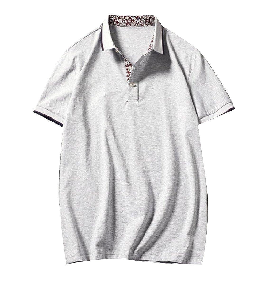 LoveSky-Men Fit Turn Down Collar Short Sleeve Thin Knit Basic Polo Shirt
