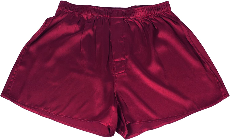 JASMINE SILK Mens Classic Silk Boxer Shorts Burgundy
