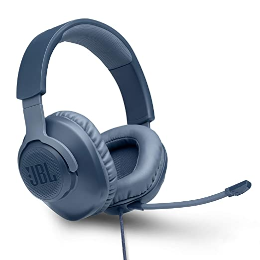 JBL Quantum 100 Wired Over Ear Gaming Headset with Detachable Mic  Blue  Headsets