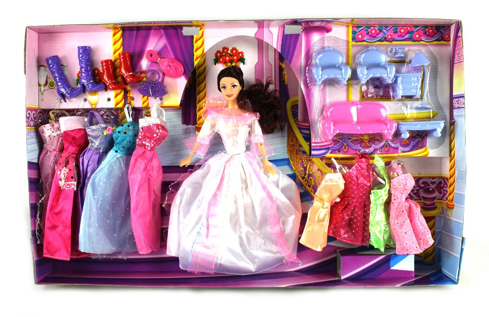 Fashion Castle Queen Toy Doll Playset, Comes w/ Doll, Variety of Unique Dresses, Toy Furniture, Accessories