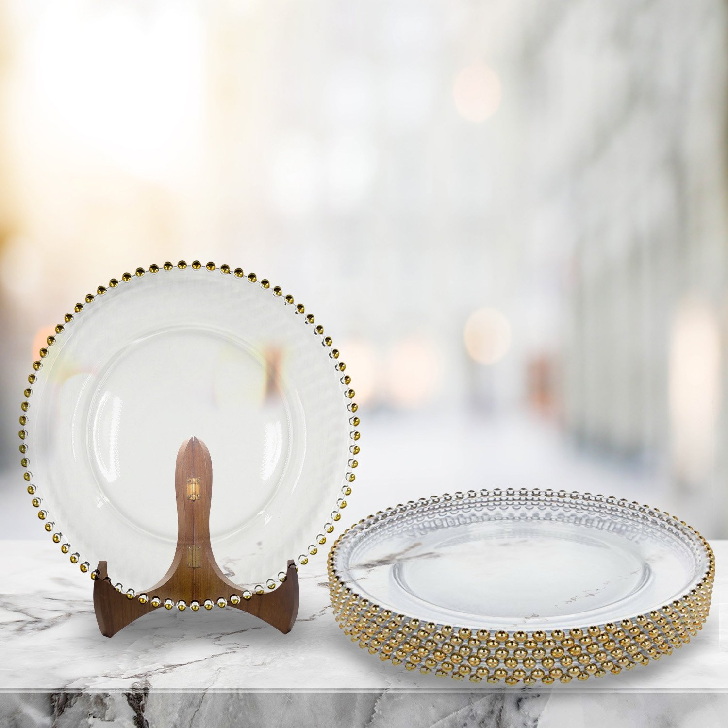 Excellent Designs Wedding Decorations Charger Plates Gold Beads Clear Glass Charger Plates Set of 8, and Beautiful Gold Wedding Plate Chargers