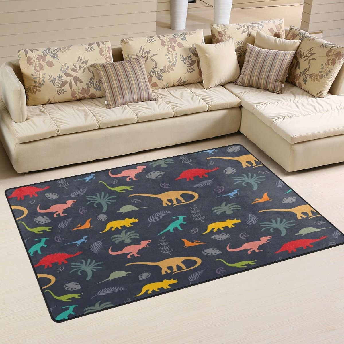 WOZO Forest Palm Tree Dinosaur Area Rug Rugs Non-Slip Floor Mat Doormats Living Dining Room Bedroom Dorm 60 x 39 inches inches Home Decor