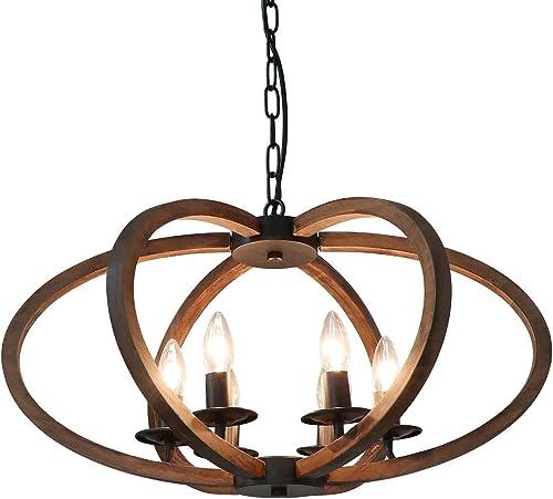 Anmytek Wood Metal Chandelier Rustic Farmhouse Style Flower Shape Wood Frame Adjustable Chain Pendant Lighting E12 Base Bulb Hanging Light Vintage Ceiling Kitchen Island Light Fixture 6-Lights C0072