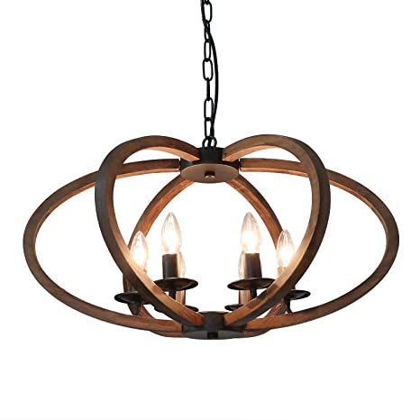 Amazon.com: Anmytek Lámpara de araña de madera de metal ...