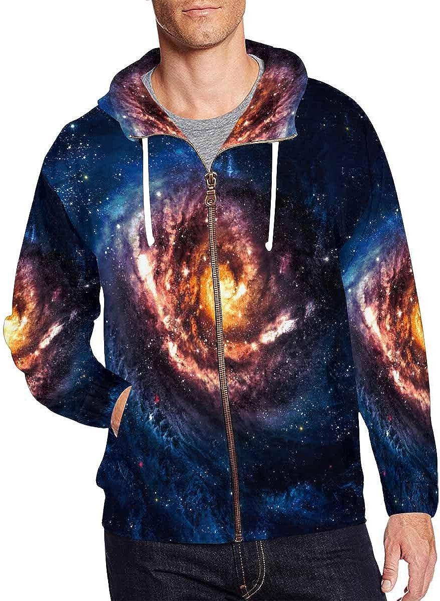 INTERESTPRINT Mens Pullover Full Zip Hoodies Sweatshirt Incredibly Beautiful Spiral Galaxy in Deep Space