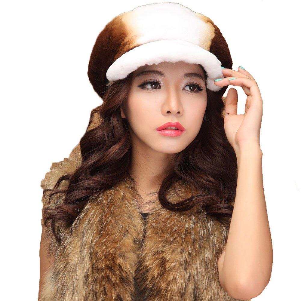MINGXINTECH womens fashion rabbit fur short peak cap warm winter hat 4 colors