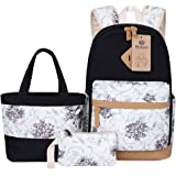 BLUBOON Stylish School Bags Set 3 Pieces Teen Girls Lightweight Canvas Laptop Backpack Casual Lunch Tote Bag Pencil Case (Black- flora)