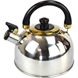 2.5L Litre Stainless Steel Whistling Kettle Fast Boil Chrome Kitchen Home Retro Tea Hot Drink Camping Fishing For Gas Electric Halogen Ceramic Hob