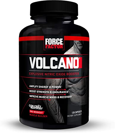 Volcano Pre Workout Nitric Oxide Booster Supplement for Men with Creatine and L-Citrulline to Boost Nitric Oxide and Energy, Build Muscle, Better Pump and Workout, Force Factor, 120 Capsules