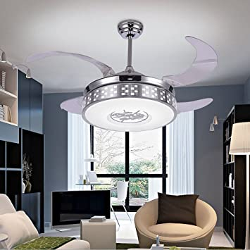 COLORLED Silver Retractable Blades Indoor Ceiling Fan With Light And Remote   42 Inch Modern Style