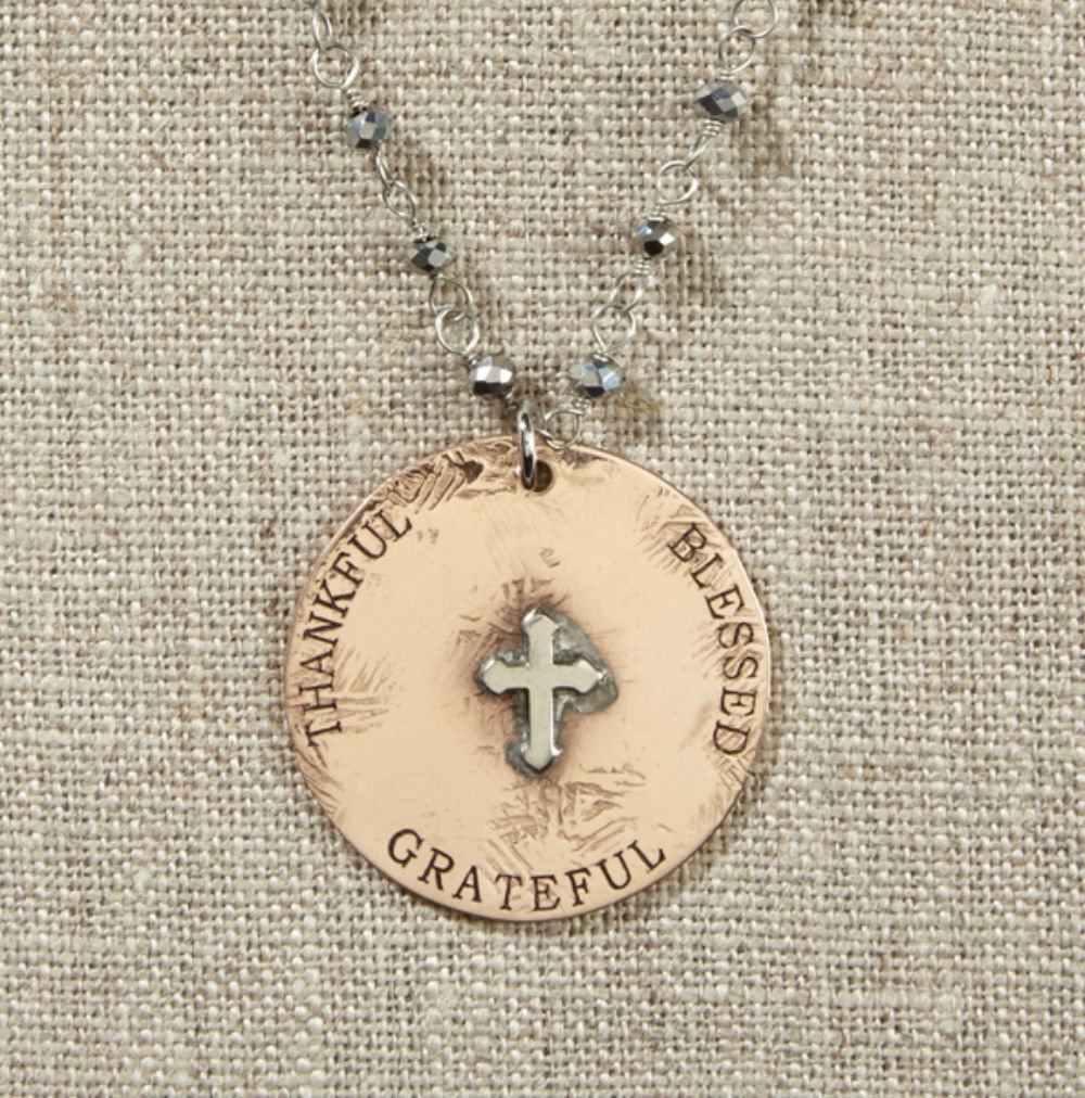 Set of 4 Grateful Heart-Gold Disc with Silver Raised Cross Necklace on Pyrite Chain by AT001