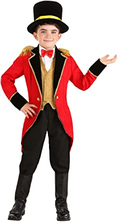 CHILDS GREATEST SHOWMAN RING MASTER JACKET WITH HAT AND CANE FANCY DRESS COSTUME