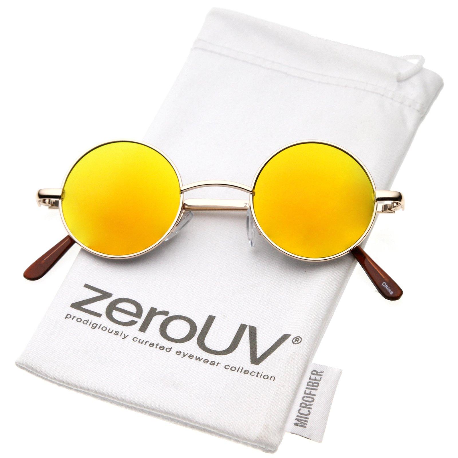 zeroUV - Retro Round Sunglasses for Men Women with Color Mirrored Lens John Lennon Glasses (Gold/Orange) by zeroUV