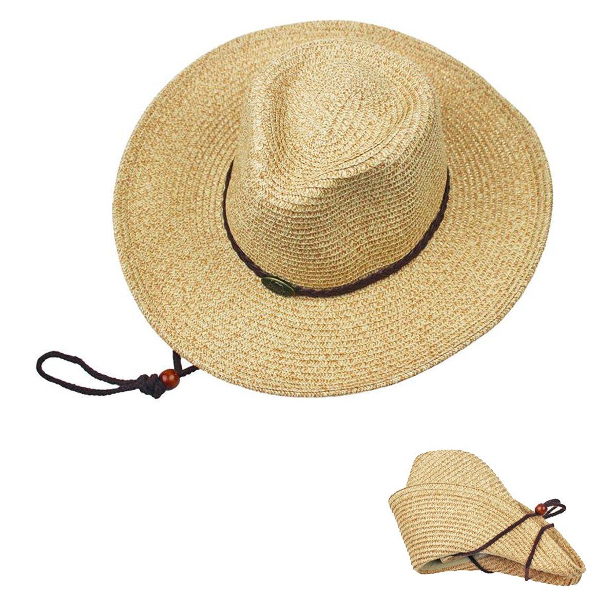 ARHSSZY Western Cowboy Folding Wide Brim Straw Hat Sun Hat Beach Cap Panama Hats ZDstraw-begie