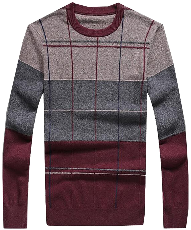 bbaa4ab997 Oberora Men s Fashion Lattice Pattern Wool-Blend Crew-Neck Sweater delicate