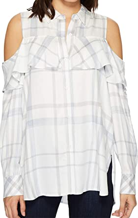 25939301599aa8 Two by Vince Camuto Women s Long Sleeve Cold Shoulder Ruffled Space Dye  Plaid Blouse Light Cream