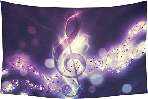 INTERESTPRINT Violin Key Home Decor Tapestries Wall Art, Music Notes Tapestry Wall Hanging Art Sets 90 X 60 Inches