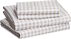 """AmazonBasics Lightweight Super Soft Easy Care Microfiber Bed Sheet Set with 16"""" Deep Pockets - Queen, Taupe Gingham"""