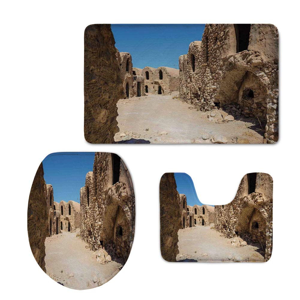 iPrint Fashion 3D Baseball Printed,Galaxy,One of Abandoned Sets of The Movie Tunisia Desert Phantom Menace Galaxy Wars Themed,Brown Blue,U-Shaped Toilet Mat+Area Rug+Toilet Lid Covers 3PCS/Set