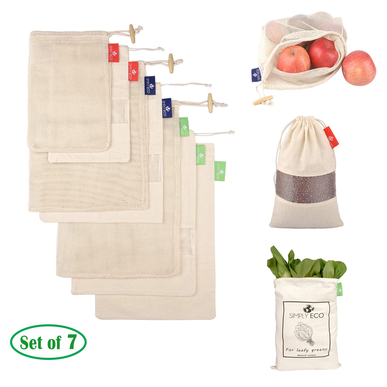 SIMPLY ECO 7 reusable natural cotton produce bags with drawstring. Mesh bags for fruits and veggies, muslin bags with see through window for bulk food storage. Zero waste mesh eco bags