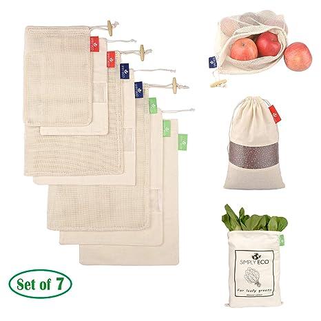 Amazon.com: Sencillo ecológico algodón reutilizable bolsas ...