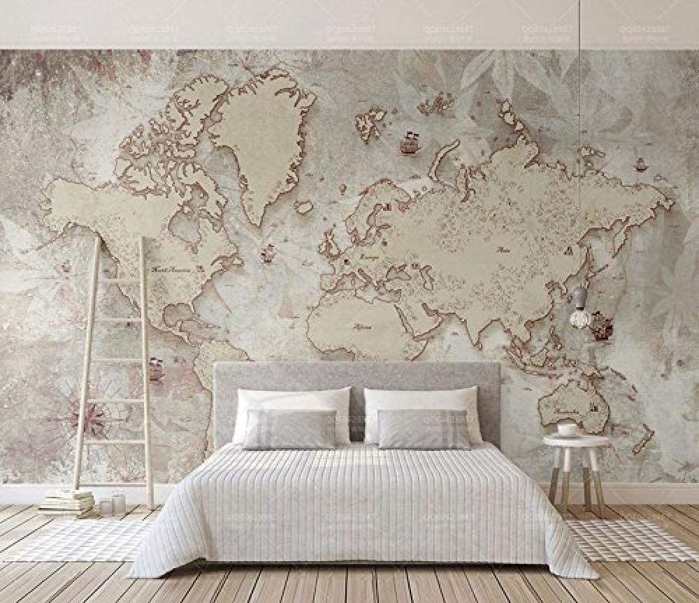 FSLUCKY 3D World Map Wallpaper Murals Decor 3D Mural