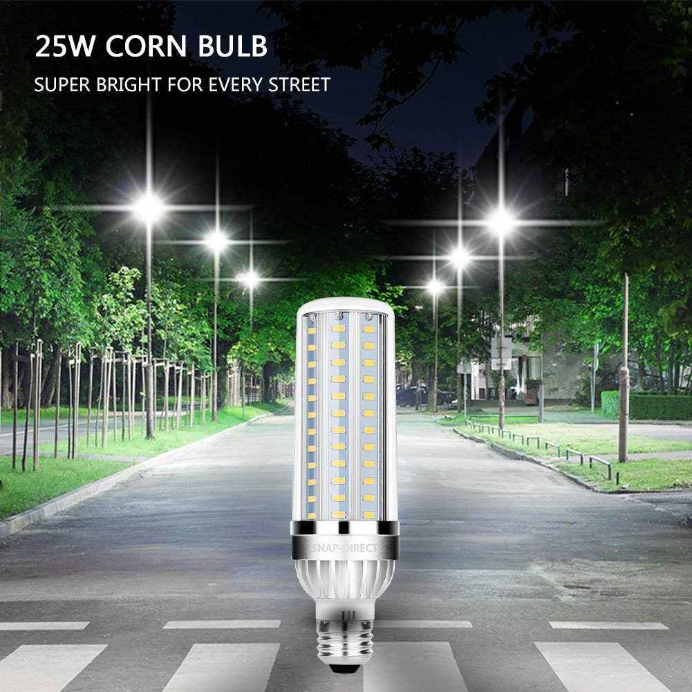 LED Corn Light Bulb: Daylight 6500-Kelvin, E26 Base, Non-Dimmable LED Street & Area Light, Super Bright for Garage Warehouse High Bay Barn Backyard (25W / 200 Watt Equivalent / 2900 Lm / 6500K)