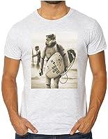 OM3™ - STORMTROOPER SURFING - Slim Fit Herren T-Shirt (Tailliert!!!) Darth Vader SciFi Parody Beach