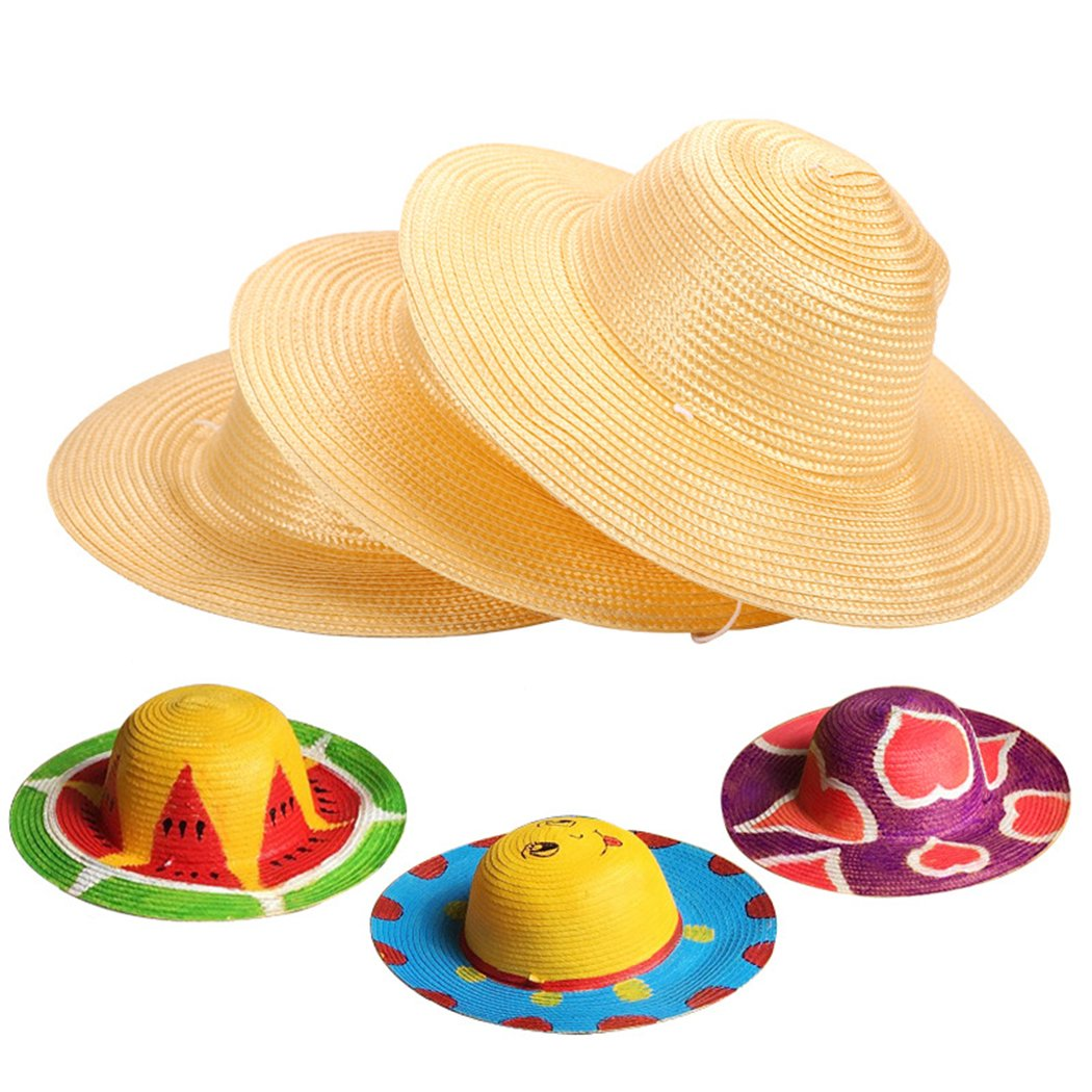 Straw Hat, Coxeer 6PCS Straw Hat Cap Beach Sun Hat Creative Art Painting Straw Hat for Kids Adults Birthday Party Hats Childrens DIY Straw Summer Hats by Coxeer (Image #2)