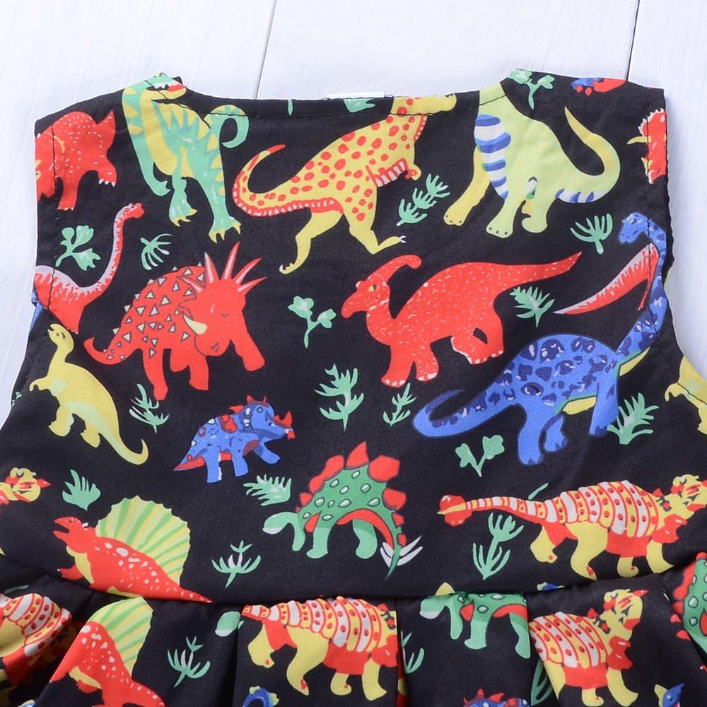 Babywow Infant Baby Girls Dinosaur Printed Ruffled Tank Dress with Matching Headband Toddler Girl Swing Dresses