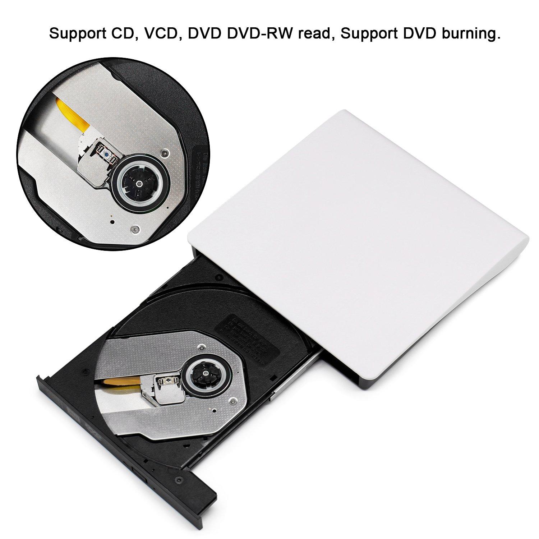 External DVD CD Drive, JIRVY USB 3.0 Ultra Slim Portable External Slot CD DVD Storage Drive External DVD Writer Burner Player RW/ROM Drive for Apple Macbook Pro Air iMAC or Laptops/Desktops (White) by JIRVY (Image #1)