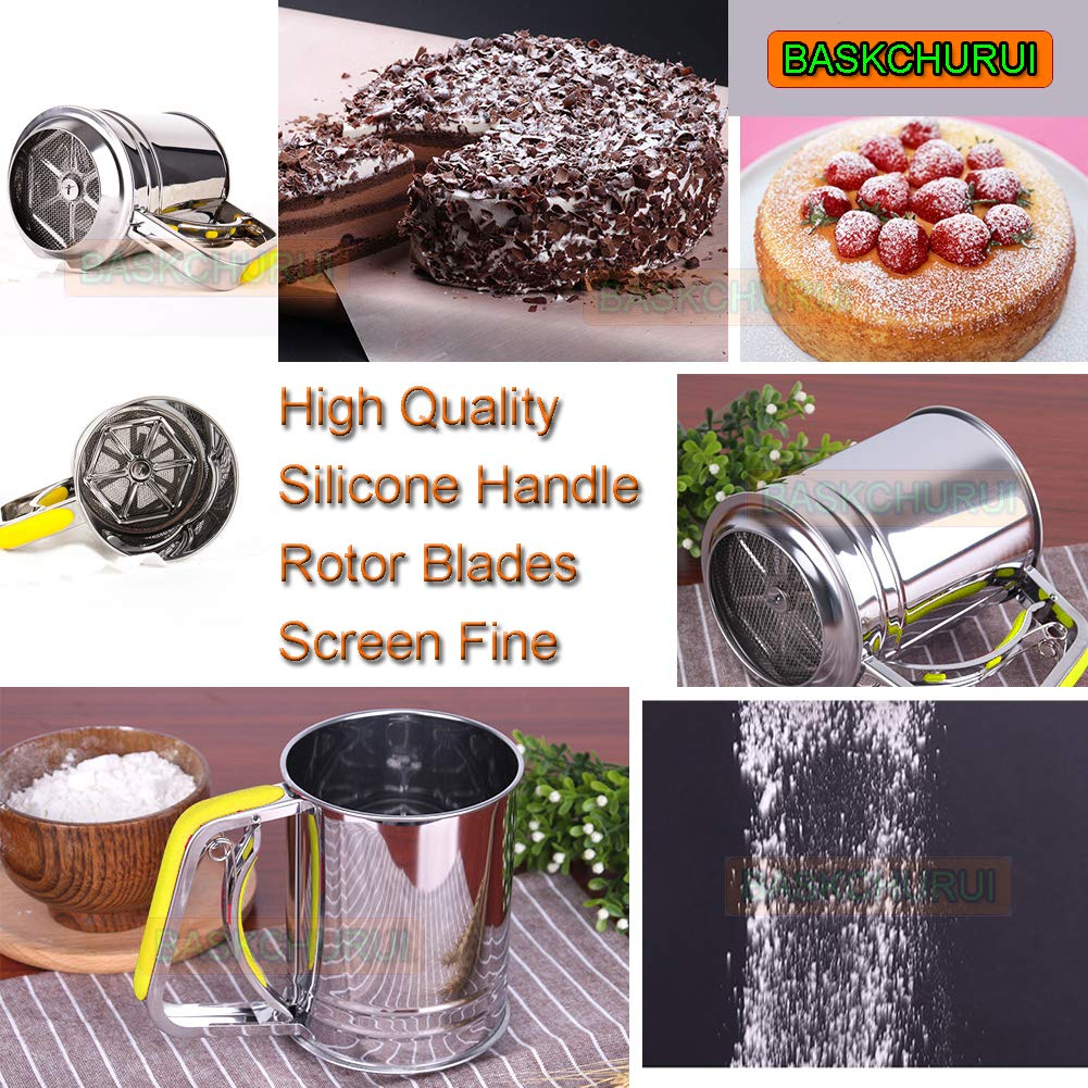 Hand-held Stainless Steel Flour Sifter with Silicone Handle Fine Mesh Sieve for Baking (3 Cup) by Baskchurui (Image #2)
