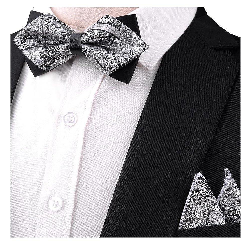 L04BABY Mens Grey Paisley Silk Formal Tuxedo Bow Tie Set Bowtie+Pocket Square