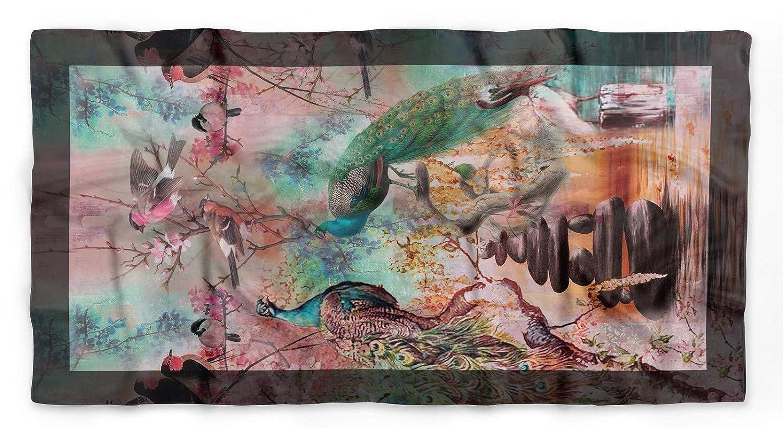 Phagun Peacock Bar pura seta stampata capo Bandane estate del collo della sciarpa dellinvolucro rettangolare
