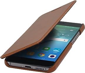 StilGut Book Type sans Clip, Housse en Cuir pour Huawei Nova. Etui de Protection de Cuir véritable à Ouverture latérale, Cognac