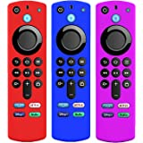 3 Pack Silicone Case for Alexa Voice Remote 3rd Gen 2021, KTMEWAS Protective Cover for FireStick TV 4k 2021 Remote Control Si