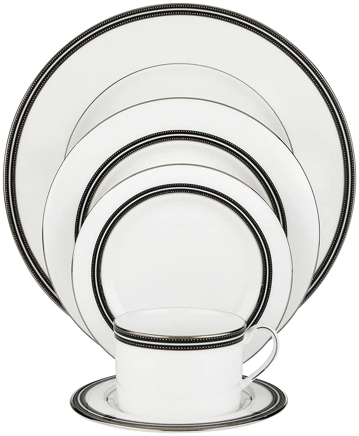 White Bone China with Black and Platinum Details L6257935 Kate Spade New York Union Street Dinnerware 5-Piece Place Setting