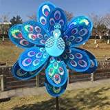 Amrka Double Layer Peacock Sequins Windmill Colorful Wind Spinner for Kids Toy and Garden Decoration (Blue)