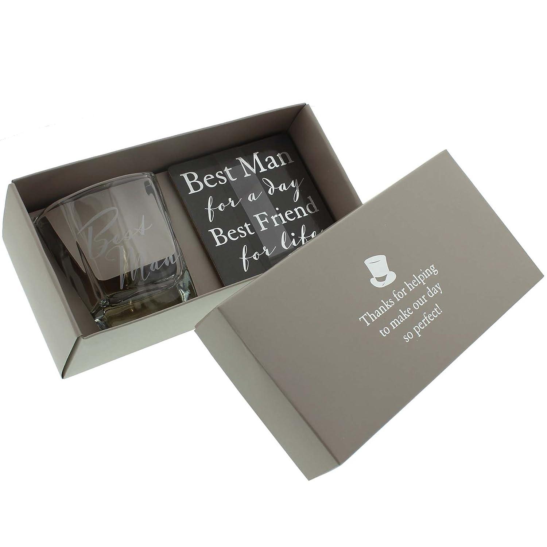 Amore by Juliana Whisky Glass & Coaster - Best Man wedding WG570 WiddopandBingham