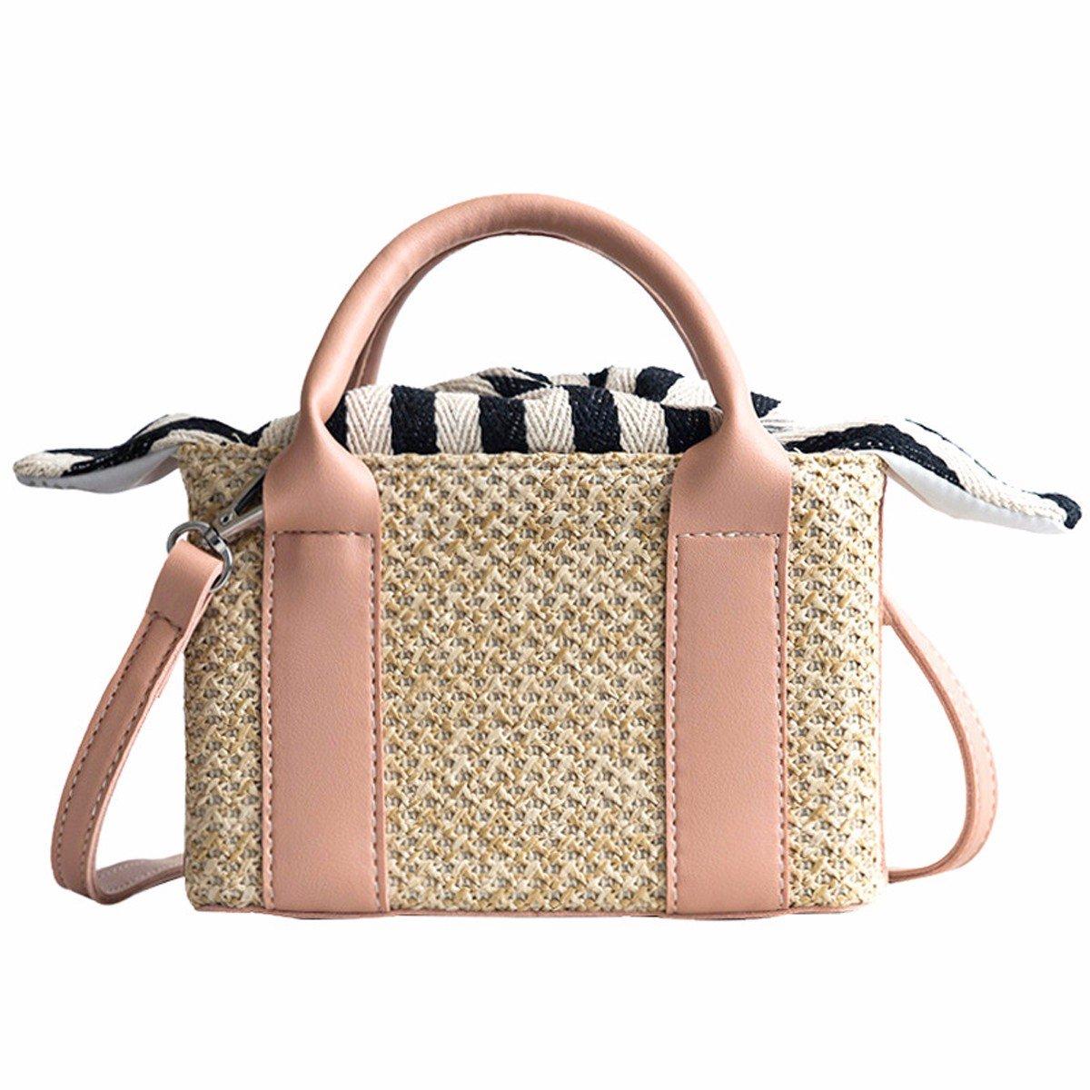 GTVERNH-der Frauen/Mode Handtasche/All-Match/Freizeit weberei Schulter Stroh aus Tasche Sommer Wilde Tasche Eimer Tasche Tragbare Weiblich Square - Tasche